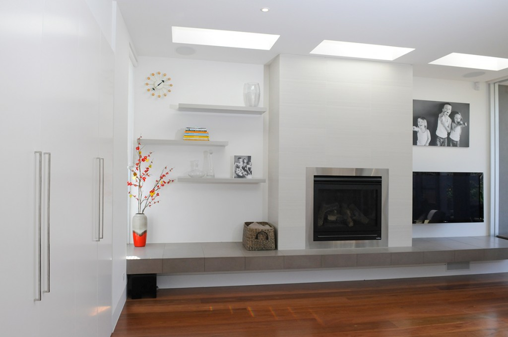 Stylish Fireplace And Floating Shelves VMDesign